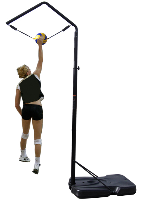 Volleyball Spike Trainer Model VST-100. Perfect your Volleyball hitting technique using the most cost-effective and durable Volleyball Spike Trainer on the market. Work on your Volleyball footwork, Volleyball Approach, Jump Technique, Volleyball Arm Swing, and Volleyball Contact.